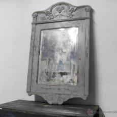 Antigüedades - Antiguo Espejo con Marco Tallado y Cristal Biselado - 95474814