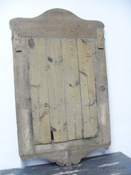 Antigüedades: Antiguo Espejo con Marco Tallado y Cristal Biselado - Foto 5 - 95474814