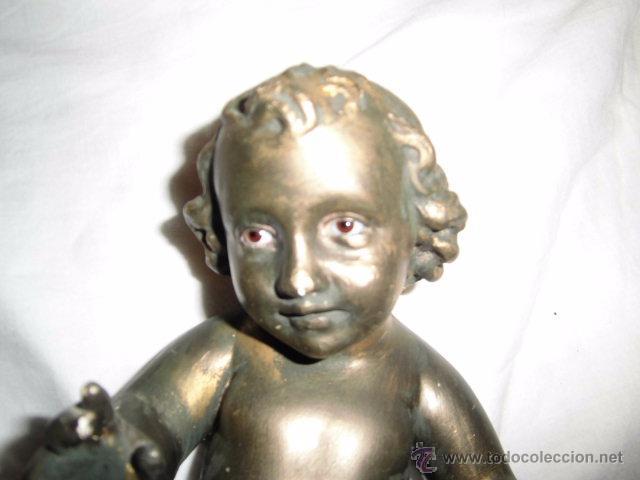 Antigüedades: ANTIGUO NIÑO JESUS DE OLOT,OJOS DE CRISTAL,LE HAN PINTADO ENCIMA CON PURPURINA,DEFECTOS LEER - Foto 3 - 52367512