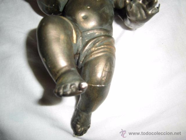 Antigüedades: ANTIGUO NIÑO JESUS DE OLOT,OJOS DE CRISTAL,LE HAN PINTADO ENCIMA CON PURPURINA,DEFECTOS LEER - Foto 11 - 52367512