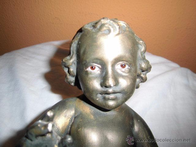Antigüedades: ANTIGUO NIÑO JESUS DE OLOT,OJOS DE CRISTAL,LE HAN PINTADO ENCIMA CON PURPURINA,DEFECTOS LEER - Foto 17 - 52367512