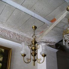 Antigüedades: **BONITA LAMPARA DE TECHO DE BRONCE CON TULIPAS** SOLO RECOGIDA!!!. Lote 52373694