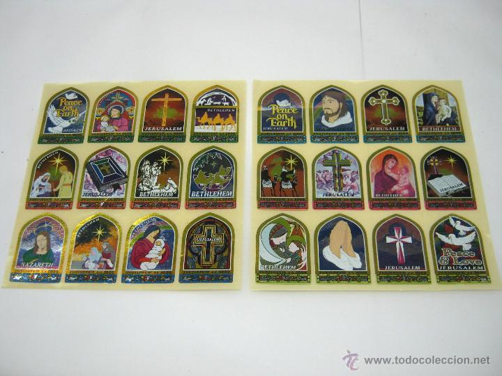 SERIE COMPLETA LOTE 24 PEGATINAS RELIGIOSAS METALICAS JERUSALEM BETHLEHEM JUBILAEUM 2000 (Antigüedades - Religiosas - Varios)