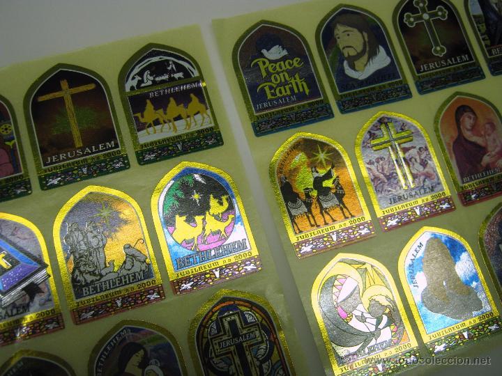 Antigüedades: serie completa lote 24 pegatinas religiosas metalicas Jerusalem Bethlehem Jubilaeum 2000 - Foto 2 - 52381198