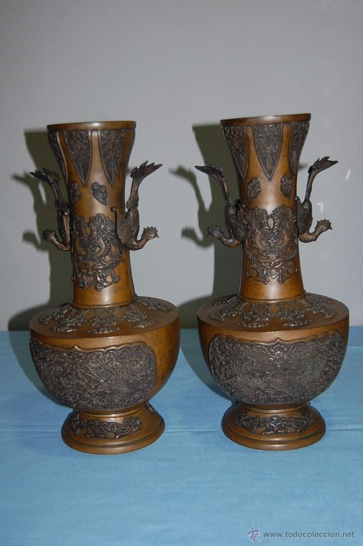 pareja copas jarrones en bronce con decoracin oriental antigedades hogar y decoracin jarrones