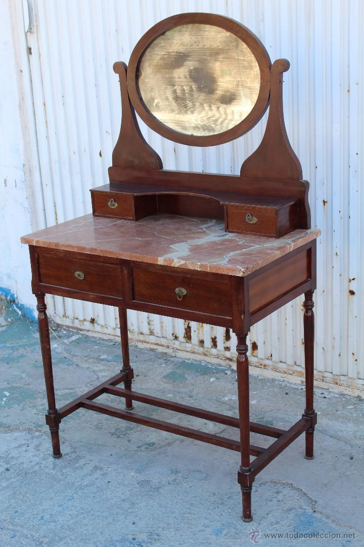 Mueble tocador antiguo en madera tablero de ma comprar - Muebles madera antiguos ...