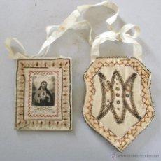 Antigüedades: ESCAPULARIO DIVIN COEUR DE JESUS, SOUVENIR DE PARAY LE MONIAL, 2ME CENTENAIRE (CON DESPERFECTOS). Lote 52406588