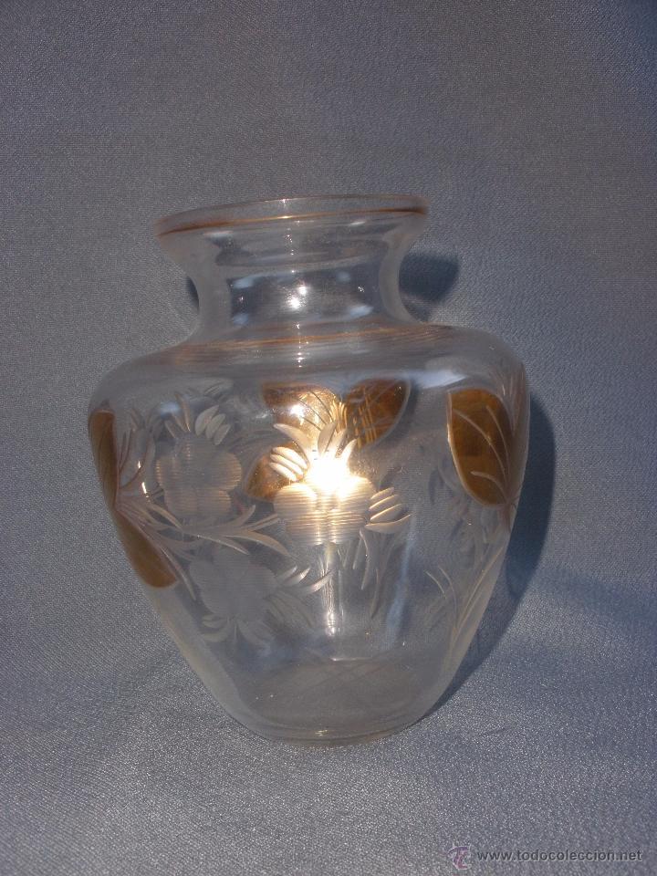 Antigüedades: Jarron o búcaro de Cartagena Santa Lucía Murcia en cristal tallado y oro - Foto 2 - 52415148