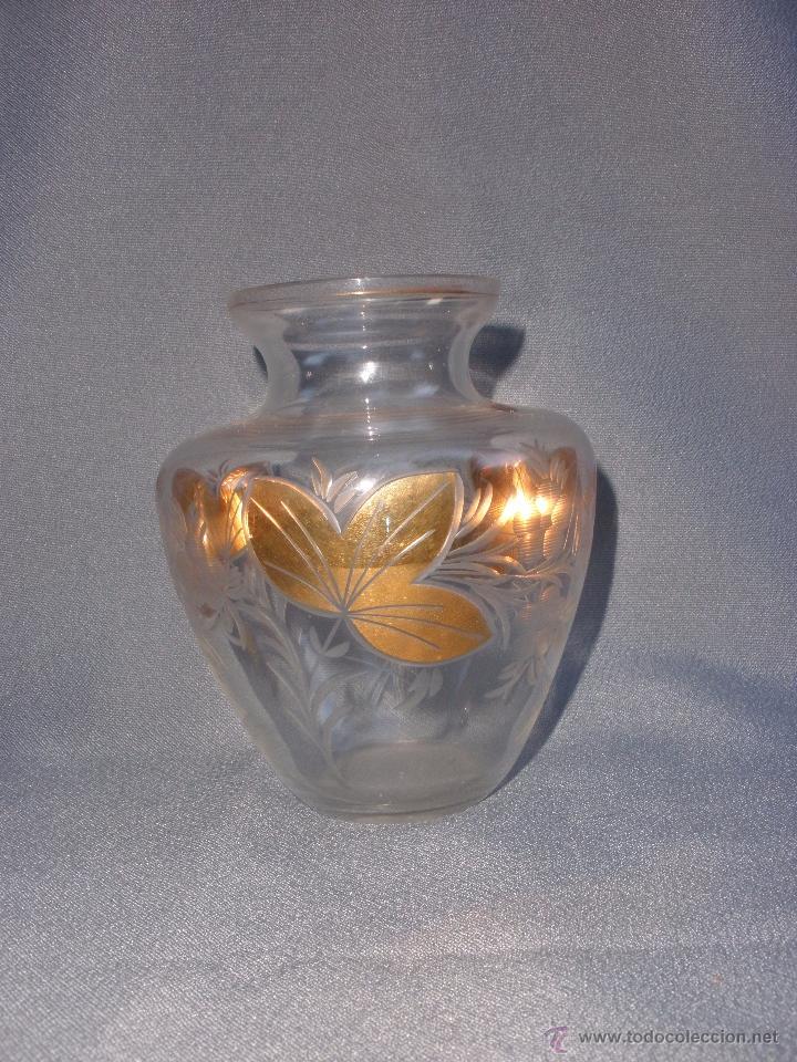 Antigüedades: Jarron o búcaro de Cartagena Santa Lucía Murcia en cristal tallado y oro - Foto 3 - 52415148