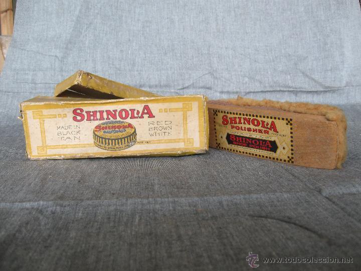 Antigüedades: Cepillo para zapatos con su caja original Shinol'a. Patente 1907 - Foto 3 - 52424678