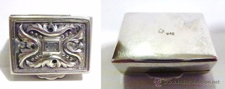 Antigüedades: ANTIGUA CAJITA EN PLATA REPUJADA CONTRASTE 915 - S.XX - Foto 3 - 52438381