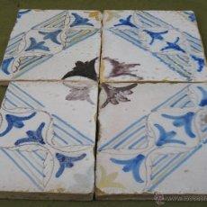 Antigüedades: LOTE DE 4 AZULEJOS ANTIGUOS DE TOLEDO / CAPITAL.. Lote 52455152