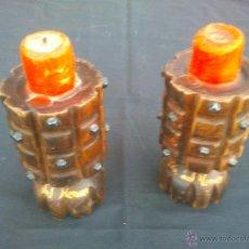 Antiques - Pareja torchéros candeleros, candelabros, veleros, madera - 52457056