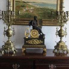 Antigüedades: IMPRESIONANTE PAREJA CANDELABROS PORTAVELAS BRONCE 7 BRAZOS 15.712 GR 6 PIES DE APOYO PIEZA MUSEO. Lote 52446962