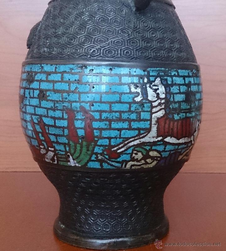 Antigüedades: Jarrón antiguo Chino champleve en bronce cincelado con motivos en cloisonné y seres mitologicos . - Foto 13 - 52463431