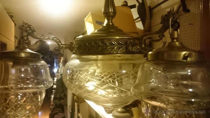 Antigüedades: LAMPARA EN EMBALAJE ORIGINAL SIN USO BRONCE Y CRISTAL - Foto 10 - 52478023