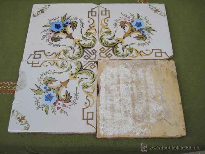 Antigüedades: LOTE DE 4 AZULEJOS ANTIGUOS DE VALENCIA / MANISES. SIGLO XIX - XX. - Foto 3 - 52480377