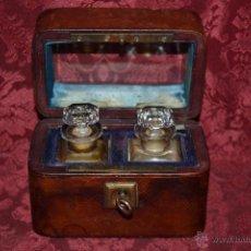 Antigüedades: PRECIOSO COFRE DE DOS FRASCOS DE PERFUME,S. XIX. Lote 52490764
