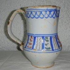 Antigüedades: ANTIGUA JARRA DE TALAVERA. CERÁMICA. FINALES S.XVIII. TRICOLOR.. Lote 52500568