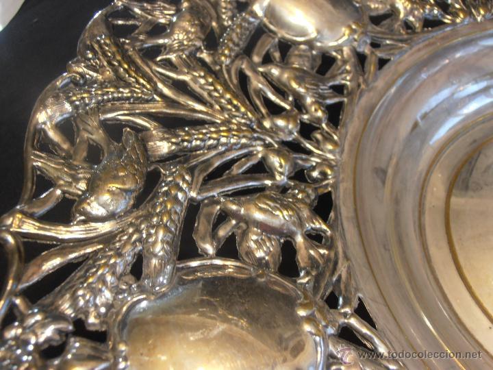 Antigüedades: BANDEJA, FRUTERO, CENTRO DE LATON PLATEADO - Foto 2 - 52518158