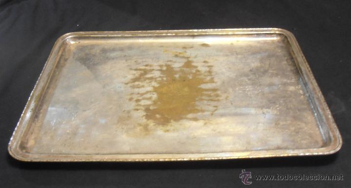 Antigüedades: BANDEJA RECTANGULAR DE LATON PLATEADO - Foto 3 - 52518408