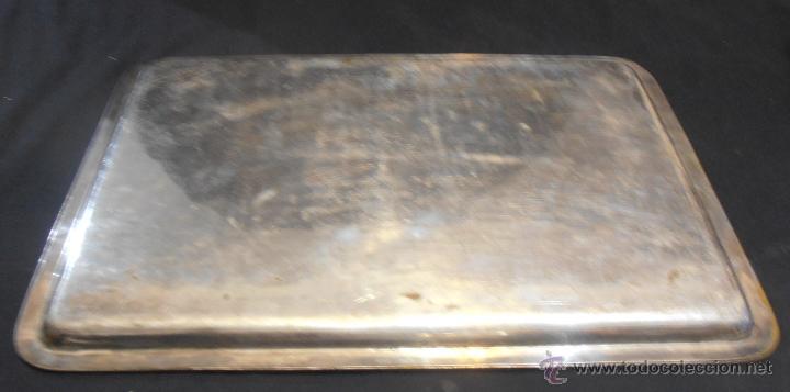 Antigüedades: BANDEJA RECTANGULAR DE LATON PLATEADO - Foto 4 - 52518408