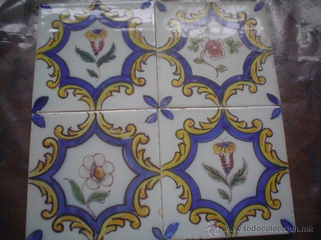 LOTE DE 4 AZULEJOS SIGLO XVIII PINTADOS A MANO (Antigüedades - Porcelanas y Cerámicas - Azulejos)