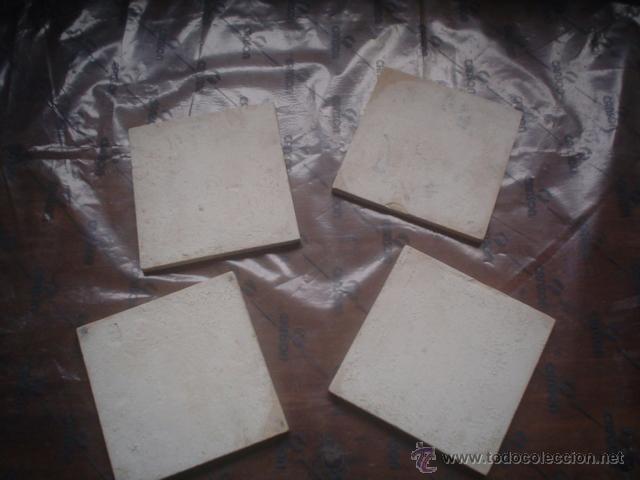 Antigüedades: lote de 4 azulejos siglo xviii pintados a mano - Foto 3 - 52532022