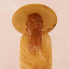 Antigüedades: GRAN MONJE CHINO TALLADO EN ALABASTRO DE 27 CM. Lote 52532391