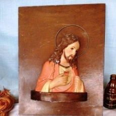 Antigüedades: CRISTO VIEJO EN ESCAYOLA. SOBRE TABLA DE MADERA.. Lote 52575324