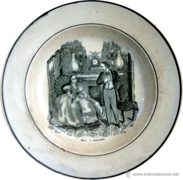 PLATO DE CARTAGENA CON ESCENA COSTUMBRISTA - 1845 - 1893 - S. XIX (Antigüedades - Porcelanas y Cerámicas - Cartagena)