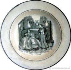 Antigüedades: PLATO DE CARTAGENA CON ESCENA COSTUMBRISTA - 1845 - 1893 - S. XIX. Lote 52579689