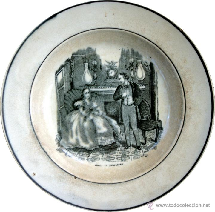 Antigüedades: PLATO DE CARTAGENA CON ESCENA COSTUMBRISTA - 1845 - 1893 - S. XIX - Foto 2 - 52579689