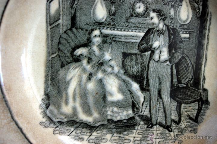 Antigüedades: PLATO DE CARTAGENA CON ESCENA COSTUMBRISTA - 1845 - 1893 - S. XIX - Foto 4 - 52579689