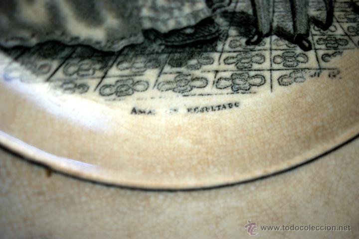 Antigüedades: PLATO DE CARTAGENA CON ESCENA COSTUMBRISTA - 1845 - 1893 - S. XIX - Foto 8 - 52579689