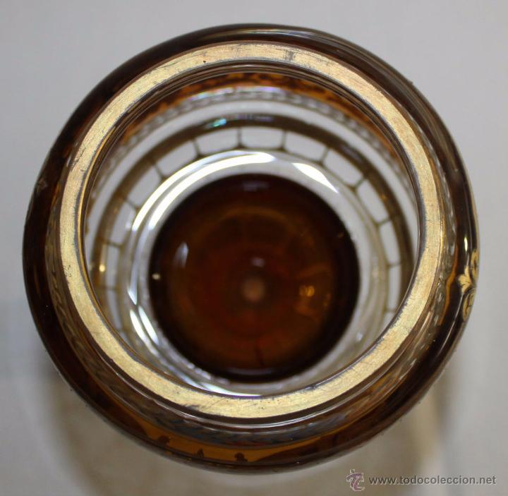 Antigüedades: BOMBONERA FRANCESA EN CRISTAL TALLADO - DORADA Y ESMALTADA A MANO - SIGLO XIX - Foto 11 - 52596298