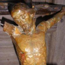 Antigüedades: ANTIGUO CRUCIFIJO MADERA TALLADA, CRISTO SIGLO XVIII .XIX RESTAURAR. Lote 52597177
