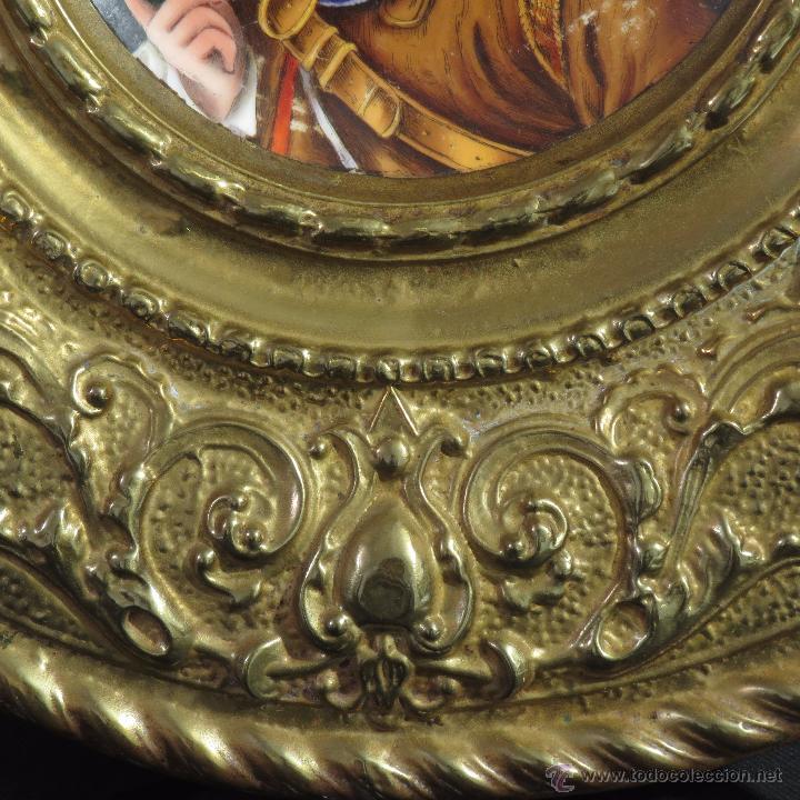 Antigüedades: ANTIGUO PLATO PORCELANA SARREGUEMINES CON MARCO DE METAL - Foto 4 - 52597312
