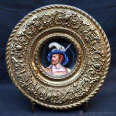 Antigüedades: ANTIGUO PLATO PORCELANA SARREGUEMINES CON MARCO DE METAL. Lote 52597531