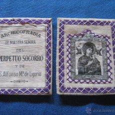Antigüedades: ANTIGUO ESCAPULARIO DE LA ARCHICOFRADIA DE NTRA SRA DEL PERPETUO SOCORRO - MIDE CADA PARTE 8X10 CM. Lote 52598548
