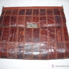 Antigüedades: BOLSO AUTENTICA PIEL DE REPTIL. Lote 52598625