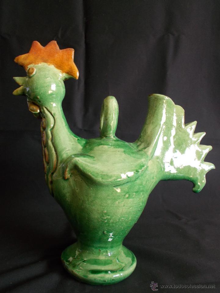 ORIGINAL BOTIJO EN FORMA DE GALLO, DE LA ALFARERÍA ALMARZA (ÚBEDA), EN CERÁMICA VIDRIADA. (Antigüedades - Porcelanas y Cerámicas - Úbeda)