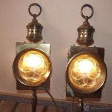 Antigüedades: IMPRESIONANTES,MAGNIFICAS,ORIGINALES Y ANTIGUAS LAMPARAS QUINQUES ELECTRIFICADAS CARRUAJE 54 CM. Lote 52610022