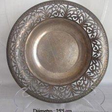 Antigüedades: FUENTE O PLATO CALADO ALPACA PLATEADA ANTIGUO. Lote 52610050