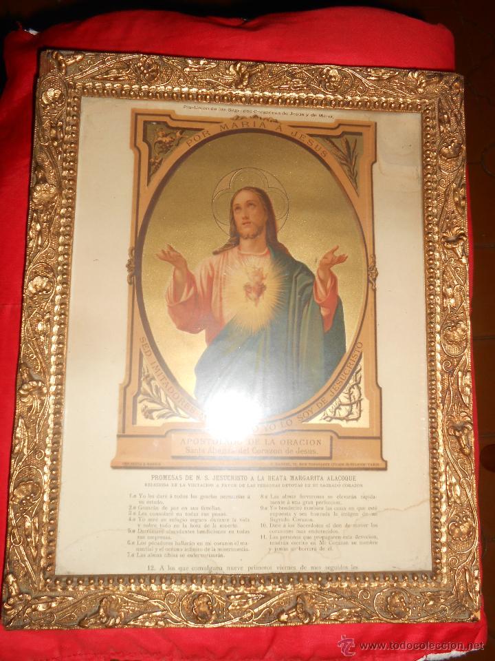 lámina enmarcada sagrado corazón de jesús - Comprar Antigüedades ...