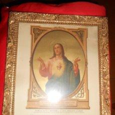 Antiguidades: LÁMINA ENMARCADA SAGRADO CORAZÓN DE JESÚS. Lote 52637095