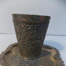 Antigüedades: BONITO VASO Y PLATO PLATA. Lote 52452335
