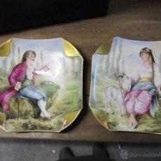 Antigüedades: MAGNIFICA PAREJA DE GRANDES PLATOS EN PORCELANA VIEJO PARIS, S. XIX BELLAMENTE DECORADOS. Lote 52663093