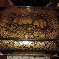 Antigüedades: PRECIOSO COSTURERO ORIENTAL CHINA - FILIPINAS XIX PIEZAS DE MARFIL EN SU INTERIOR. Lote 52664029