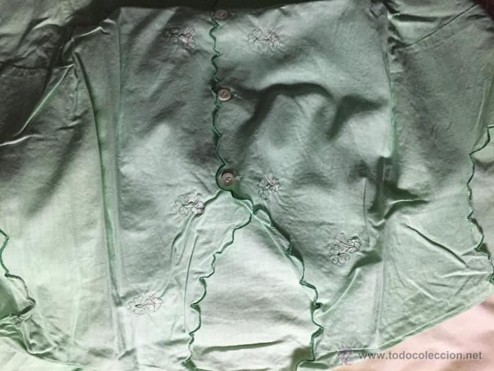 Antigüedades: Antiguo camisón de algodón color verde agua - Foto 4 - 52665602